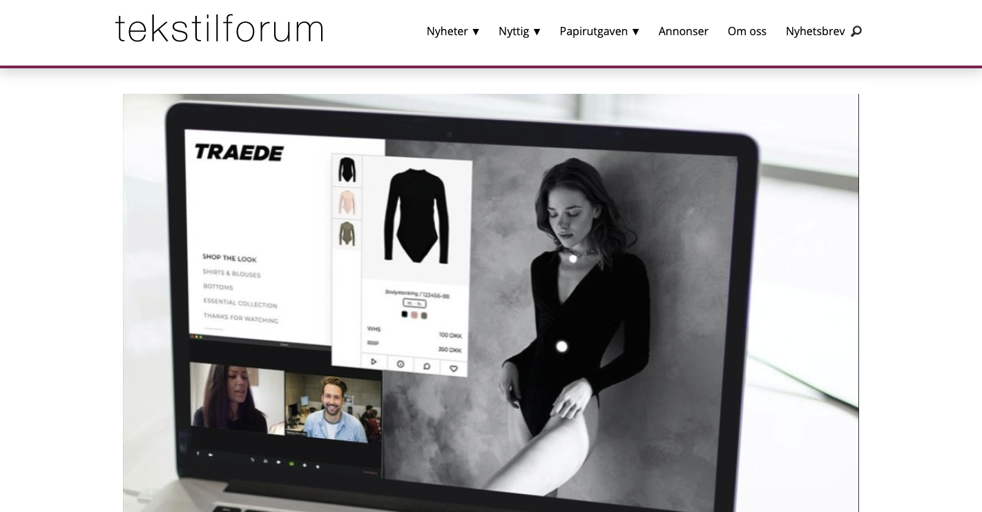Traede featured in Norwegian fashion magazine about their virtual showroom product